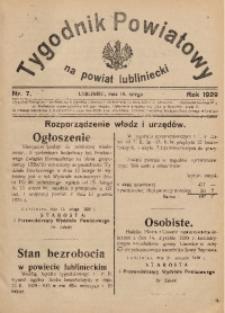 Tygodnik Powiatowy na Powiat Lubliniecki, 1929, nr7