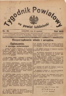 Tygodnik Powiatowy na Powiat Lubliniecki, 1929, nr16