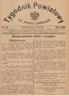 Tygodnik Powiatowy na Powiat Lubliniecki, 1929, nr40