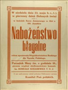 Afisz o nabożeństwie w intencji Narodu Polskiego w kościele Serca Jezusowego w dniu 23.05.1915 r.