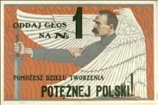 Plakat przedwyborczy do Sejmu RP wzywający do głosowania na listę Nr 1