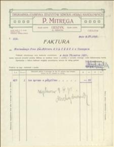 Rachunek firmy P. Mitręgi z dnia 09.04.1915 r. dla W. Holczaka w Cieszynie za oprawę książki