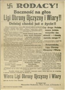 Antysemicka odezwa wzywająca na wiec Ligi Obrony Ojczyzny i Wiary w Poznaniu