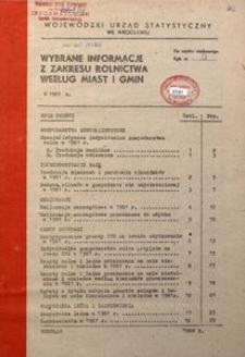 Wybrane informacje z zakresu rolnictwa według miast i gmin w 1981 r.