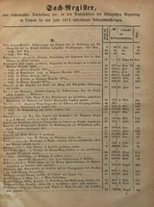 Sach-Register oder alphabetische Darstellung der, in den Amtsblättern der Königlichen Regierung in Oppeln für das Jahr 1873 enthaltenen Bekanntmachungen