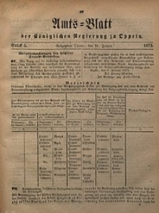 Amts-Blatt der Königlichen Regierung zu Oppeln, 1873, Bd. 58, St. 5
