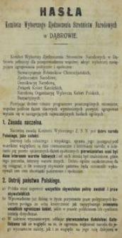 Hasła Komitetu Wyborczego Zjednoczenia Stronnictw narodowych w Dąbrowie