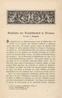 Geschichte der Dombibliothek in Breslau