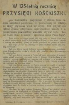 W 125-letnią rocznicę Przysięgi Kościuszki