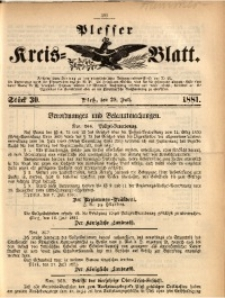 Plesser Kreis-Blatt, 1881, St. 30