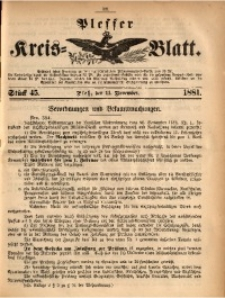 Plesser Kreis-Blatt, 1881, St. 45