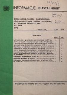 Zatrudnienie, handel i gastronomia, usługi, mieszkania oddane do użytku, wychowanie przedszkolne, kultura 1975
