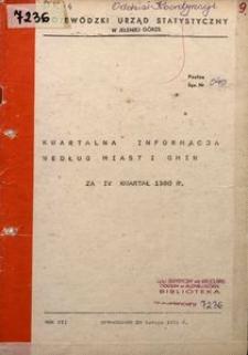 Kwartalna informacja według miast i gmin za IV kwartał 1980 r.