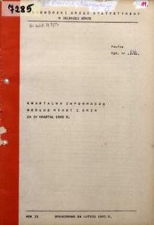 Kwartalna informacja według miast i gmin za IV kwartał 1982 r.