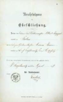 Akt zawarcia małżeństwa z 23.04.1899 r.