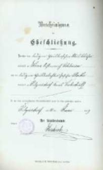 Akt zawarcia małżeństwa z 11.06.1899 r.