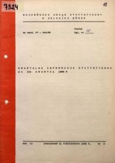 Kwartalna informacja statystyczna za III kwartał 1985 r.