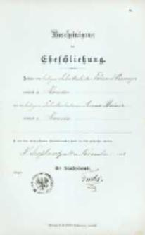 Akt zawarcia małżeństwa z 14.11.1898 r.