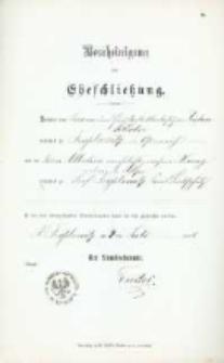Akt zawarcia małżeństwa z 4.07.1898 r.