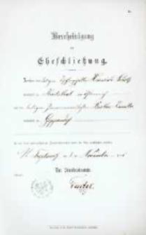 Akt zawarcia małżeństwa z 3.11.1896 r.