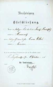 Akt zawarcia małżeństwa z 19.10.1896 r.
