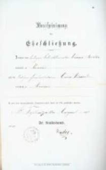 Akt zawarcia małżeństwa z 18.08.1896 r.