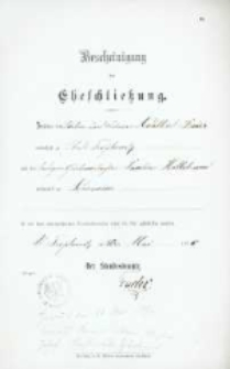 Akt zawarcia małżeństwa z 18.05.1896 r.