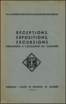 VII Congrès international des sciences historiques : réceptions, expositions, excursions organisées à l'occasion du Congrès