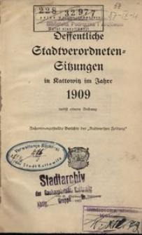 Offentliche Stadtverordneten-Sitzungen in Kattowitz im Jahre 1909 nebst einem Anhang