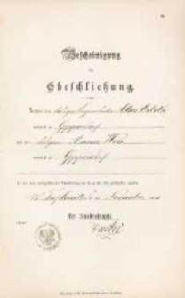 Akt zawarcia małżeństwa z 6.11.1893 r.