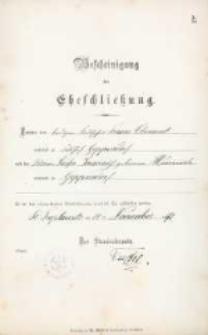 Akt zawarcia małżeństwa z 14.11.1892 r.