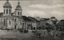 Brzeżany. Rynek. Na drugim planie Cerkiew pw. Świętej Trójcy, 1916 r.