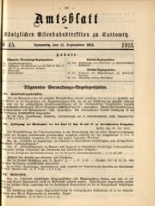 Amtsblatt der Königlichen Eisenbahndirektion zu Kattowitz, 1915, nr45