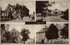 Bliszczyce. Dom urzędniczy, wjazd do wsi, partie wsi. Przed 1945 r.