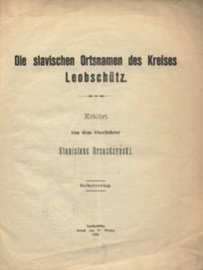 Die Slavischen Ortsnamen des Kreises Leobschütz