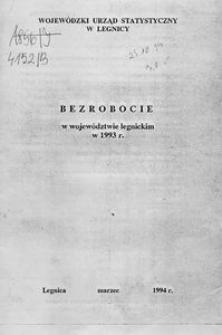 Bezrobocie w województwie legnickim w 1993 r.
