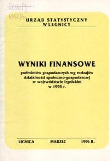 Wyniki finansowe podmiotów gospodarczych wg rodzajów działalności społeczno - gospodarczej w województwie legnickim w 1995 r.
