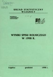 Wyniki spisu rolniczego w 1998 r.