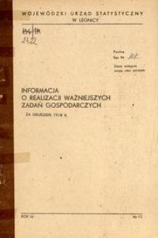 Informacja o realizacji ważniejszych zadań gospodarczych za grudzień 1978 r.