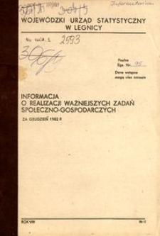Informacja o realizacji ważniejszych zadań społeczno-gospodarczych za grudzień 1982 r.