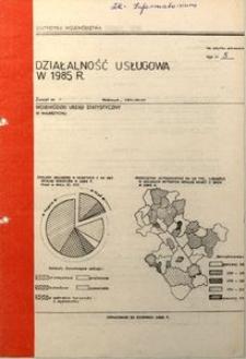 Działalność usługowa w 1985 r.