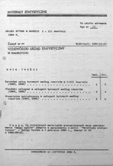 Usługi bytowe w okresie I - III kwartału 1986 r.