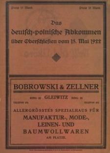Das deutsch-polnische Abkommen über Oberschlesien vom 15. Mai 1922