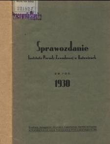 Sprawozdanie Instytutu Porady Zawodowej za rok 1930