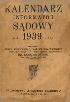 Kalendarz Sądowy na 1939 rok