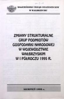 Zmiany strukturalne grup podmiotów gospodarki narodowej w województwie wałbrzyskim I półroczu 1995 r.