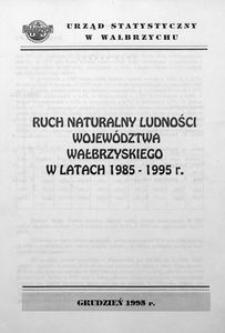 Ruch naturalny ludności województwa wałbrzyskiego w latach 1985 - 1995 r.
