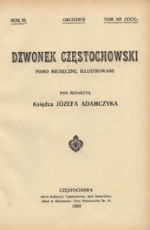 Dzwonek Częstochowski : pismo miesięczne, illustrowane. 1903, R.3, T.12(30) - grudzień