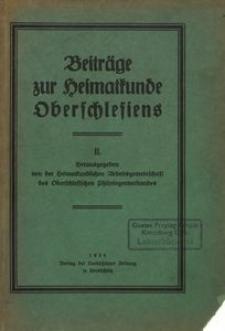 Beiträge zur Heimatkunde Oberschlesiens. 2