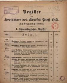 Register zum Kreisblatt des Kreises Pleß O/S. Jg. 1885